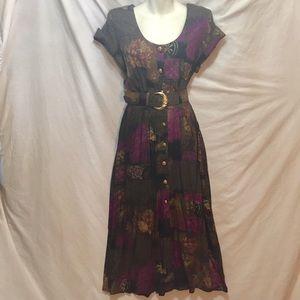Vintage Dresses - Vintage 80s button front pinup dress 50s style